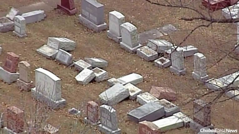 As many as 200 headstones at one of the St. Louis area's oldest Jewish cemeteries were toppled over the weekend. (Photo: SkyFox)