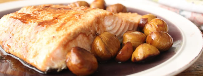 Salmon: Honey-Miso Salmon with Chestnuts