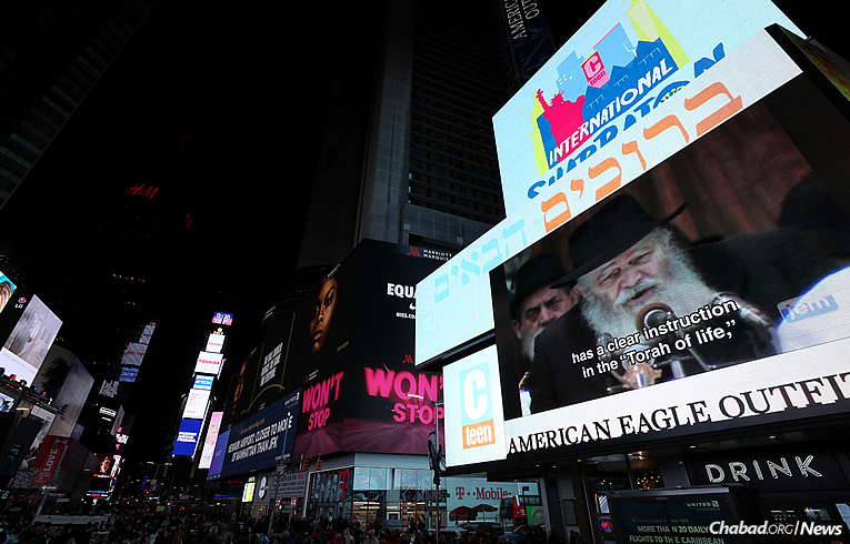 Videos of the Lubavitcher Rebbe—Rabbi Menachem M. Schneerson, of righteous memory—were shown on Times Square Jumbotrons. (Photo: Bentzi Sasson)