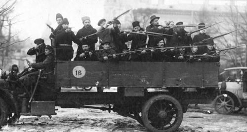 Armed Red Guards on a truck in Petrograd, October 1917.