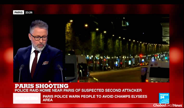 A police officer has been shot dead in what is being considered a terrorist attack in the heart of Paris. The incident took place a block from a centrally based Chabad House, where those inside waited while the city remained on lockdown.