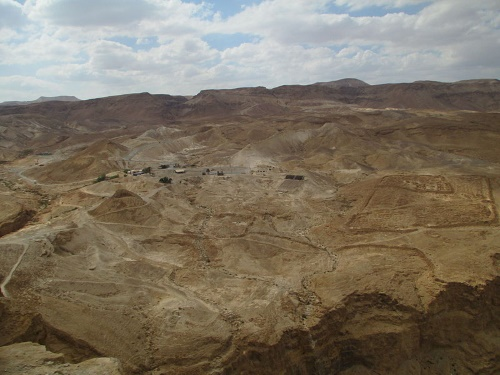 The remains of the Roman encampment at the foot of Masada (Credit: Avishai Teicher)