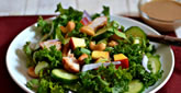 Healthy Kale Chicken Salad with Almond-Miso Dressing