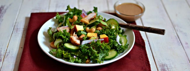Cook It Kosher: Healthy Kale Chicken Salad with Almond-Miso Dressing
