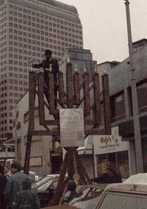 Public menorah lighting in downtown Seattle, circa 1985