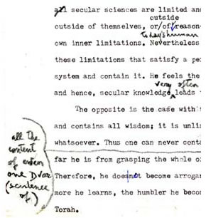 Section of a manuscript by Dr. Susan Handleman with revisions by the Lubavitcher Rebbe in the Rebbe's handwriting. An explanation of the Rebbe's comments, as well as a facsimiles of and commentary on the additional manuscripts, appear in this article.