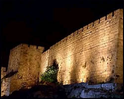 The walls of Jerusalem at night