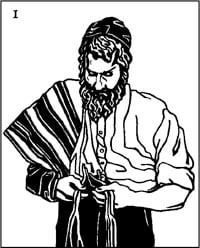 Stand with the folded tallit over the right shoulder, examine the tzitzit…