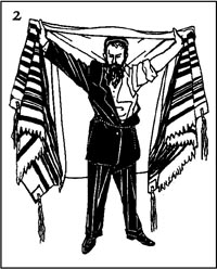 Then, unfold the tallit and open it wide, kiss its upper edge, and swing it around from the position in which it is held in front of you until it is hanging behind you. At this point begin the blessing.