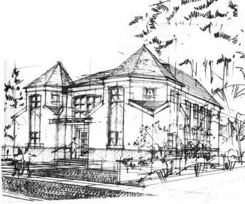 line art picture of the shul