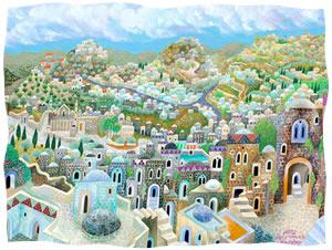 Holy City of Chevron <br> The artist, Baruch Nachshon, is Sarah Nachshon's husband