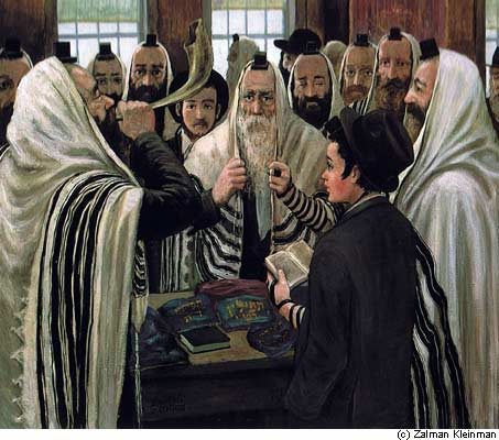 Sounding the shofar in the synagogue during the month of Elul—a painting by chassidic artist Zalman Kleinman