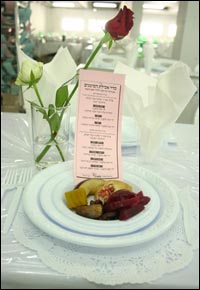 The table is set with traditional Rosh Hashanah fruits at Chabad-Lubavitch of Bangkok, Thailand. (file photo)