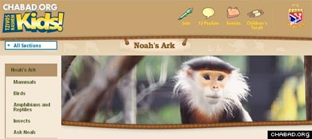 "The Noah's Ark Web page features high-resolution action photographs of animals, an ""Ask Noah"" feature, interesting factoids about individual species and Torah lessons culled from animal behavior."