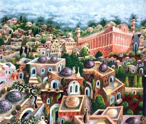 ''Hebron, City of the Patriarchs'' acrylic on canvas by Baruch Nachshon
