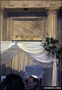 A chuppah, or Jewish wedding canopy, stands ready inside the Shanghai, China's historic Ohel Rachel Synagogue for the wedding of Denis Gi'han and Audrey Ohana.