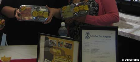 Students show off their kosher food at California State University Channel Islands.