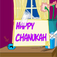 Chanukah Window Scene