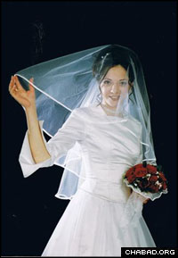 Rivka Holtzberg, nee Rosenberg, on her wedding day in 2002