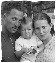 Molly with her husband and child after the War