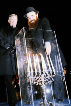 President Jimmy Carter at the Lubavitch Menorah Lighting in front of the White House together with Rabbi Abraham Shemtov, national director of American Friends of Lubavitch and the Rebbe's ambassador to the White House.