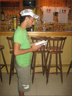A tourist in our Chabad House (2008).