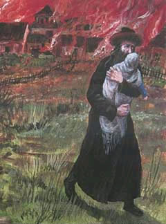 Detail from ''Pogrom I'', a painting by Chassidic artist Zalman Kleinman