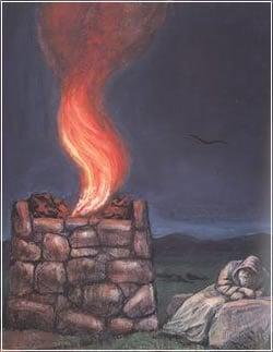 ''המזבח''. ציורו של זלמן קליינמן