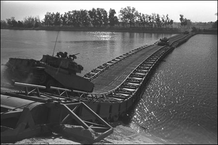A mobile bridge built by the Israeli Defense Force to cross the Suez Canal. (Photo: Ron Ilan/GPO)