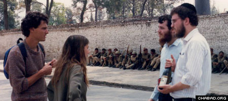 Two Chabad-Lubavitch rabbinical students in Kathmandu, Nepal, to coordinate Passover Seders in the 1990s chat up Israeli backpackers travelling the country.