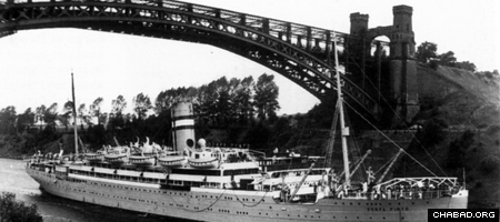 Le ''Serpa Pinto'' à bord duquel le Rabbi de Loubavitch et son épouse, la Rabbanit 'Haya Mouchka, arrivèrent sains et saufs aux Etats-Unis en 1941.