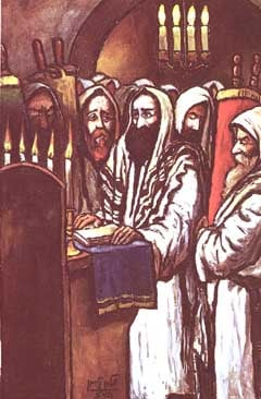 Image: High Holiday Prayer, by chassidic artist Zalman Kleinman