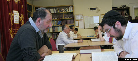 Jewish community members join rabbis-in-training during Yeshivas Lubavitch Manchester's Summer Learning Program.