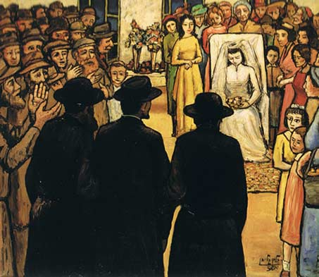 """The Badeken"" (bride veiling ceremony)—a painting by chassidic artist Zalman Kleinman"