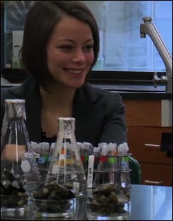 Samantha Garvey in her school's science lab.