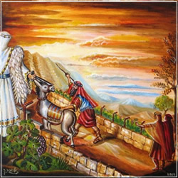 ציורי תנ''ך / בלעם והאתון /ציירה: אהובה קליין ©