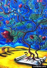 Safed artist Yom Tov Blumenthal, whose works include an image of a tree of esoteric wisdom emanating from a Torah scroll, will run workshops at the Ascent retreat.