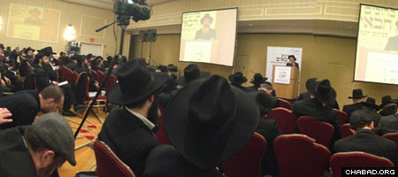 Rabbis from around the world attend a session of the International Conference of Chabad-Lubavitch Emissaries.