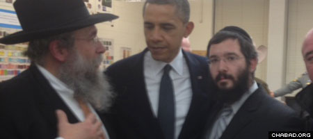 President Obama at Newtown High School with Rabbi Yisrael Deren, director of Chabad-Lubavitch of Western and Southern New England (left) and Rabbi Sholom Deitsch, director of Chabad of Ridgefield, Conn (right).