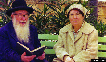 Goldstein's parents, R. Moshe Yehuda and Chaya Malka Goldstein.