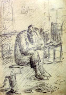 ''In Mourning'' by Chassidic artist Hendel Lieberman. Pencil, 1950's