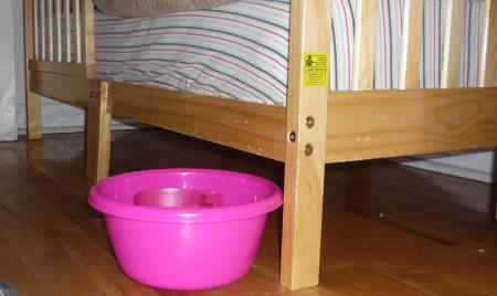 R's pink basin and cup next to her toddler-bed, all ready for the morning.