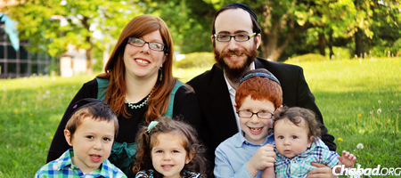Rabbi Chesky and Chani Tenenbaum with their children