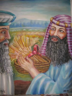 ציורי תנ''ך/ הבאת העומר אל הכוהן/ ציירה: אהובה קליין(c)