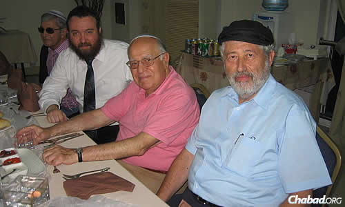 Safra, center, in Shanghai, China, where he dedicated a new mikvah.