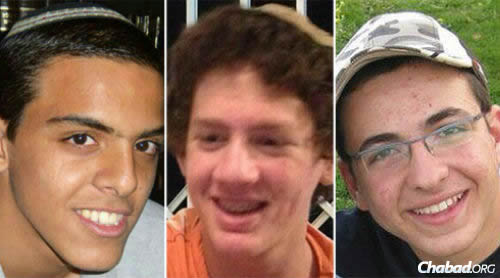 The three missing high school students, from left: Eyal Yifrach, Naftali Frenkel and Gilad Shaar