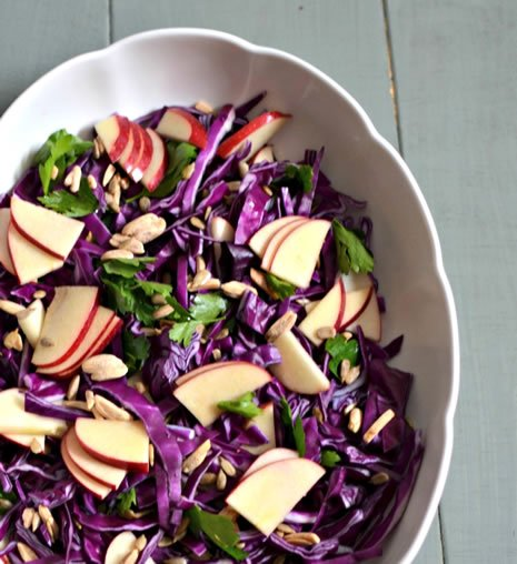 You'll need purple cabbage, parsley, red apple, sunflower seeds and ...