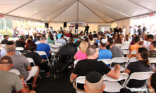 More than 300 people from the community came to usher in a new Chabad facility to be built off Orlando's famous International Drive. (Photo: Sonacity Productions)