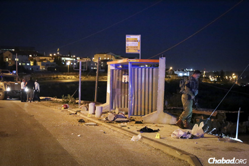Israeli security and rescue personnel at the site where a young Jewish woman was killed—and two people injured—in a stabbing attack at a bus stop at the entrance to the West Bank settlement of Alon Shvut. ( Photo: Gershon Elinson/Flash90)