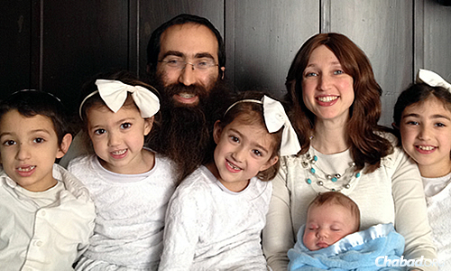 Rabbi Gil and Bracha Leeds, co-directors of Chabad Jewish Student Center at UC Berkeley, Calif., and family
